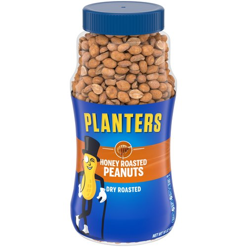 Plastic, resealable canister makes it easy to keep the peanuts fresh. Dry roasted with honey and sea salt.