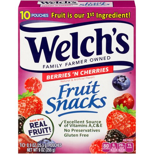 Made with real fruit. No preservatives. Natural and artificial flavors. Fat free. 100% Vitamin C DV per serving. 10 - 0.9 oz