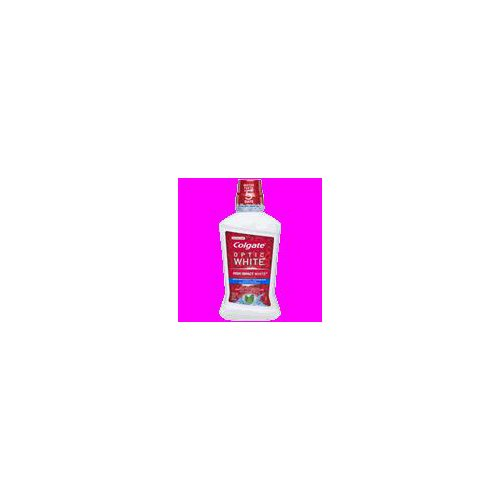 Colgate Optic White High Impact White whitening mouthwash contains 2% hydrogen peroxide to effectively whiten teeth by removing surface stains.