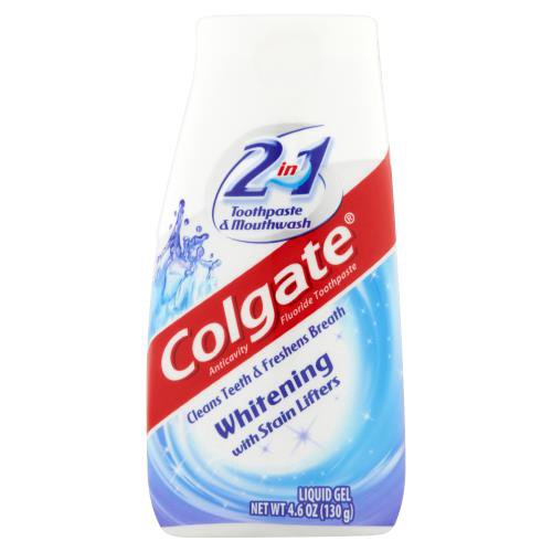 Colgate 2-in-1 Whitening Toothpaste Gel and Mouthwash provides benefits from both toothpaste and mouthwash.