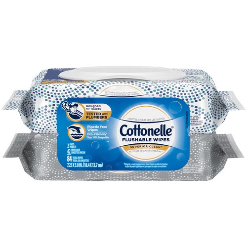 For a superior clean* that?s fresh, gentle, and effective, choose Cottonelle FreshCare Flushable Wipes with the Wavy CleanRipple Texture. Cottonelle bathroom wipes are 100% flushable.