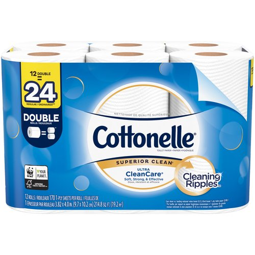 Cottonelle CleanCare single ply toilet tissue is uniquely designed with a CleaningRipples Texture that removes more & is three times thicker and stronger, and two times more absorbent vs. the Leading National Value Brand.