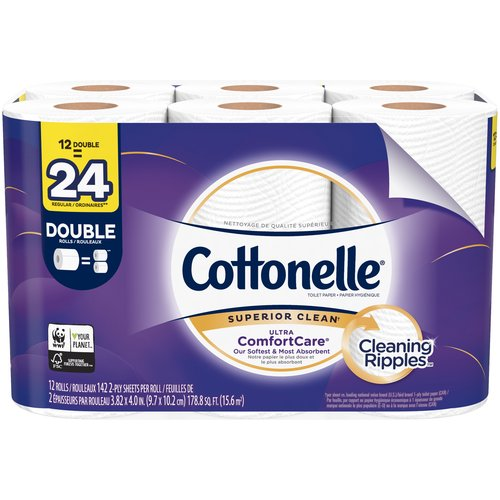 This two-ply toilet tissue is uniquely designed with a CleaningRipples Texture that removes more & is three times thicker, stronger, and more absorbent per sheet vs. the Leading National Value Brand.