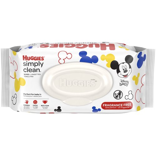 Huggies Simply Clean Baby Wipes deliver the perfect combination of convenience and versatility for hands, face, and bottoms. Triple Clean Layers, Alcohol free and Fragrance Free.
