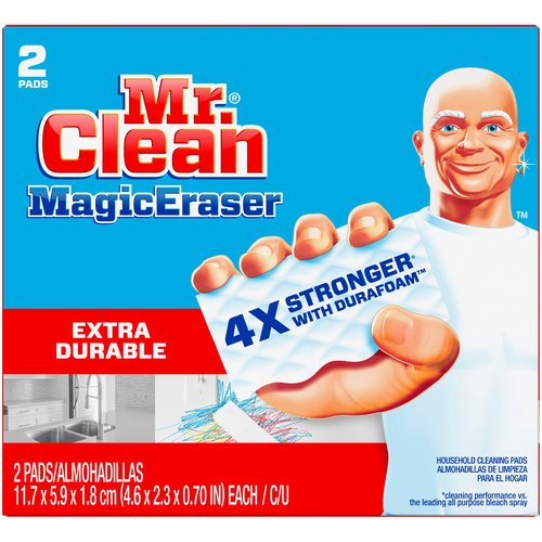 Extra durable. This cleaning scrubber is tough on dirt, all around the house! Surface cleaner, wall cleaner, bathtub cleaner, oven door cleaner, erases marks on light switches, doors & much more!.