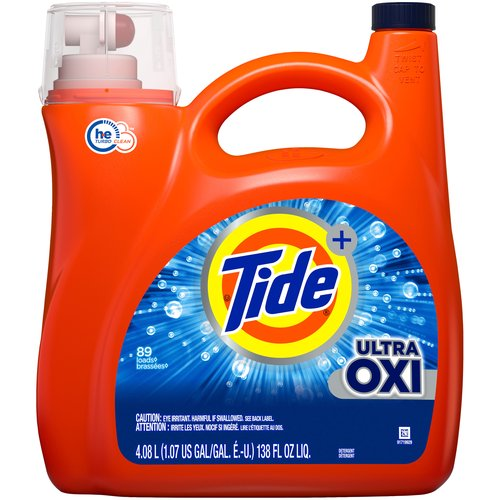 89 Loads. Tide Power + Ultra Oxi. 6x cleaning power vs. leading OXI detergent (stain removal of 1 dose of Tide Ultra OXI liquid vs. 6 doses of leading OXI liquid detergent, in standard machines).
