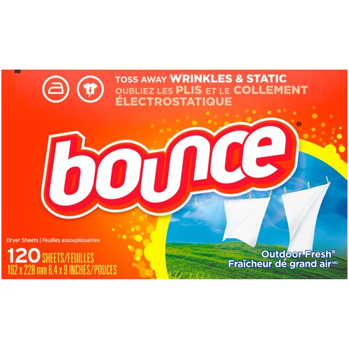 Classic Bounce outdoor fresh scent. Helps Reduce Wrinkles. Controls static cling in fabrics. Helps repel lint and hair. Contains biodegradable cationic softeners.