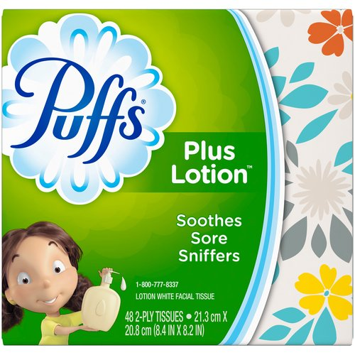 Puffs Plus Lotion helps soothe irritated noses by locking in moisture better than regular tissues. Don't let your runny nose run out of Puffs. Sign up for automatic home delivery and save.