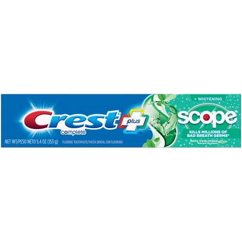 Get the freshness of Scope in a toothpaste. Kill millions of bad breath germs and leave your breath feeling minty and refreshed. Regular brushing with fluoride toothpaste helps prevent tooth decay by slowing the breakdown of enamel and increases the rate of the remineralization process.