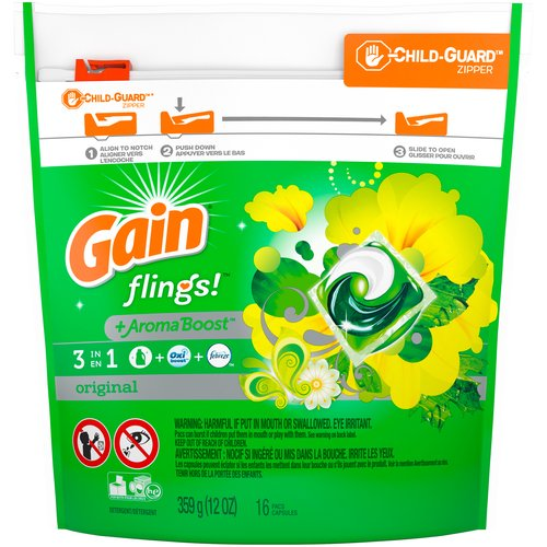Original. Gain Flings and Tide Pods are America's favorite laundry pacs. 2x the cleaning ingredients vs Gain Original Scent liquid laundry detergent. 6 weeks of freshness from wash until wear.