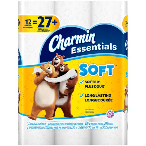 12 Giant rolls. Pack contains 12 Giant Rolls (200 sheets per roll) of Charmin Essentials Soft toilet paper. Clog-safe and septic-safe; Roto-Rooter approved. Charmin Essentials Soft is long lasting.