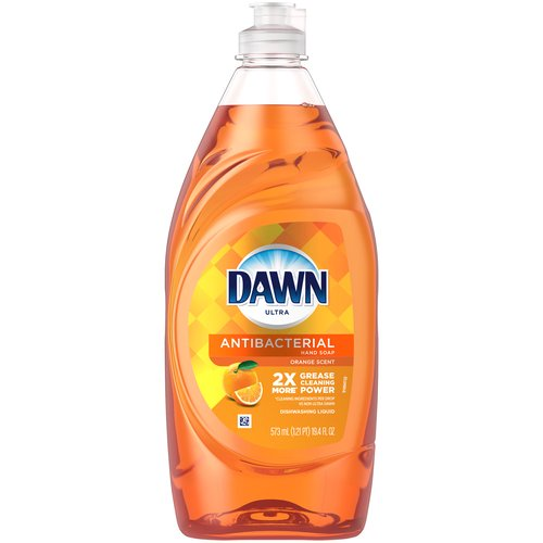 Dish soap, orange scent. Contains 2X MORE Grease Cleaning Power (cleaning ingredients per drop vs. the leading bargain brand). Featuring the energetic scent of freshly sliced oranges.