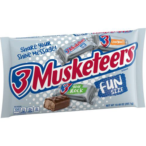 For a satisfyingly whipped up, fluffy chocolate treat, look no further than 3 Musketeers. Each 3 Musketeers Bar is made of a light and fluffy whipped chocolate center enrobed in rich milk chocolate