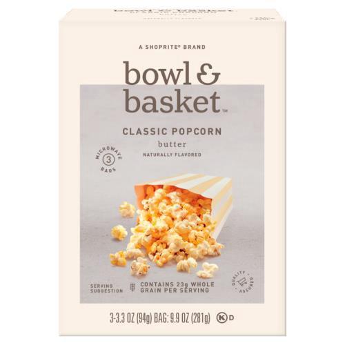 Bowl & Basket Butter Classic Popcorn, 3.3 oz, 3 count