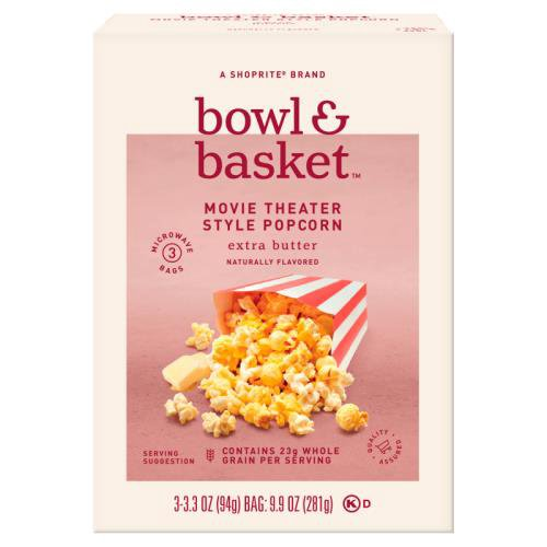 Bowl & Basket Extra Butter Movie Theater Style Popcorn, 3.3 oz, 3 count