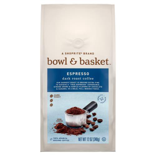 """Bowl & Basket™ Coffee starts its journey in the best growing regions across the world, using only 100% Arabica coffee beans known for their complex, rich flavor & smooth finish. Our darkest roast is ground extra fine to achieve a """"true espresso"""" experience. Strong aroma & subtle flavors of chocolate (12 oz)"""