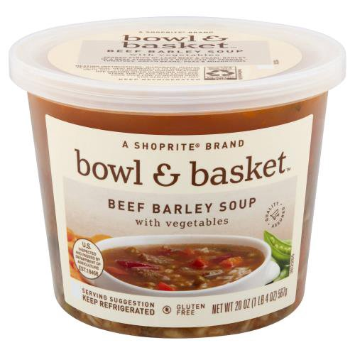a shoprite brand. seared strips of lean beef & pearl barley in a beef stock with a boatload of veggies - tomatoes, green beans, peas & mushrooms