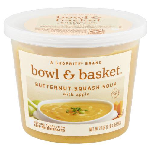 A ShopRite brand. Perfectly Pureed Butternut Squash, Homestyle Chicken Stock, a Touch of Light Cream, Granny Smith Apple, Caramelized Onions & a Pinch of Nutmeg.