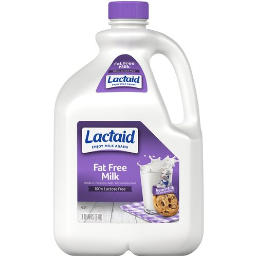 100% Lactose free. Grade A. Vitamins A & D. Ultra-pasteurized.
