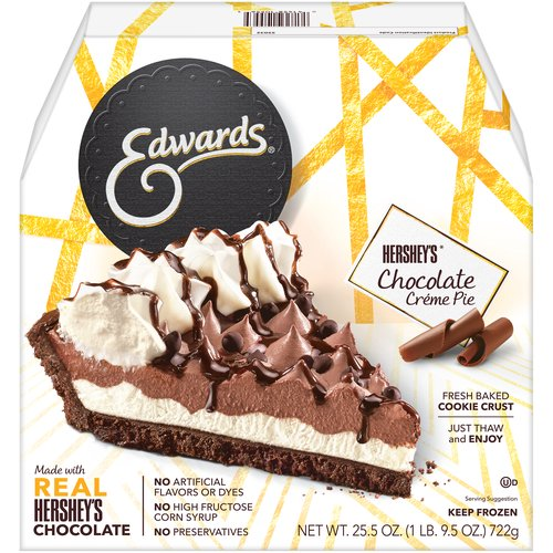 Chocolate creme filling made with Hershey's cocoa in a chocolate cookie crust. Since 1950. Ready to serve. Just thaw. Treat yourself and your family every day!