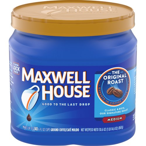 Made with a blend of Arabica and Robusta coffee beans. Resealable canister makes it easy to keep coffee fresh (and avoid spills). Makes up to 240-6 fl. oz. cups. For use in all coffee makers.