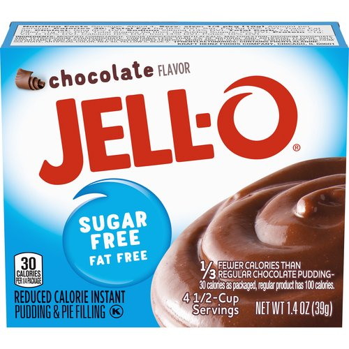 Sugar-free and fat free. Contains 40 calories per serving; each box makes 4 servings. Perfect for those keeping Kosher.