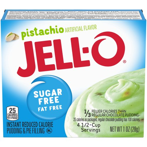 Sugar-free and fat free. Contains 20 calories per serving; each box makes 4 servings. Perfect for those keeping Kosher.