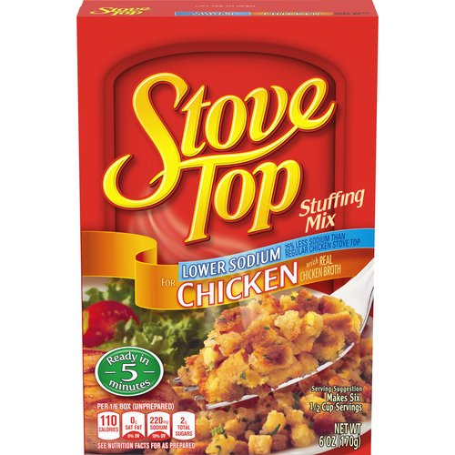 Tastes like it's made from scratch, with real chicken broth. Ready in just 5 minutes. 25% less sodium than regular Stove Top, and only 110 calories per serving; 6 servings per package.