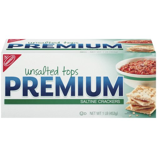 These are the same Premium Saltines Crackers you know and love, but without the sea salt on top. Enjoy Premium Saltines dipped or crumbled into your favorite stews, soups or dips.