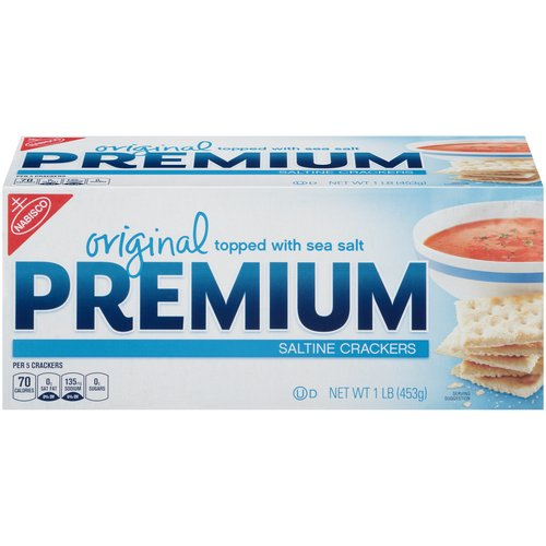Premium Saltine Crackers are topped with coarse sea salt. Enjoy Premium Saltines dipped or crumbled into your favorite stews, soups or dips.