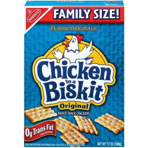 Flavor Originals Chicken in a Biscuit Crackers are crunchy, light and perfectly seasoned baked crackers. Flavor Originals Chicken in a Biscuit Crackers are made with cooked chicken for natural flavor.