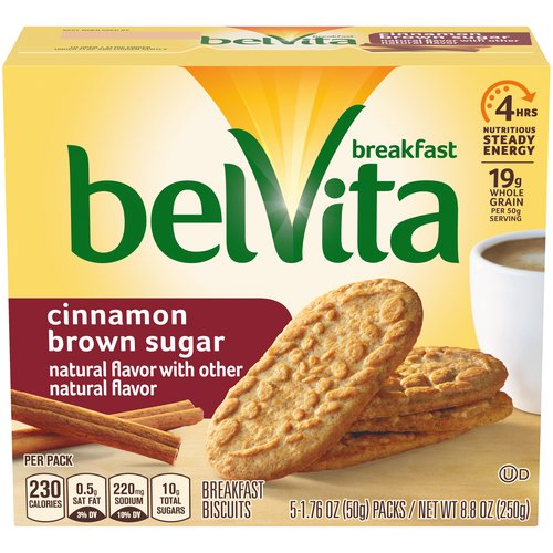 Lightly sweet, and with a taste of cinnamon, crunchy Belvita's Cinnamon Brown Sugar Breakfast Biscuits are packed with quality grains that fuel your morning.