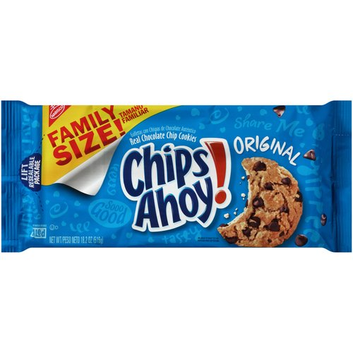 Chips Ahoy! delivers the sweet, delicious cookie taste that America has loved since 1963. These crowd-pleasing crunchy cookies come crammed with real chocolate chips to satisfy any sweet tooth.