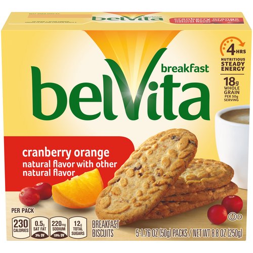 Belvita Cranberry Orange crunchy Breakfast Biscuits are made with high-quality and wholesome ingredients like whole grain to help fuel your morning.