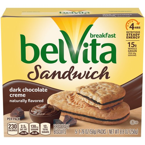 Belvita Breakfast Biscuits are specially baked to release 4 hours of nutritious steady energy. Luscious dark chocolate creme is sandwiched between two whole grain biscuits for a breakfast treat.