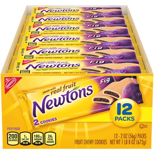 Keep it real and delicious with Newtons cookies made with whole grains and real fruit. These classic cookies with the chewy real fig center have been enjoyed by millions for over a century.