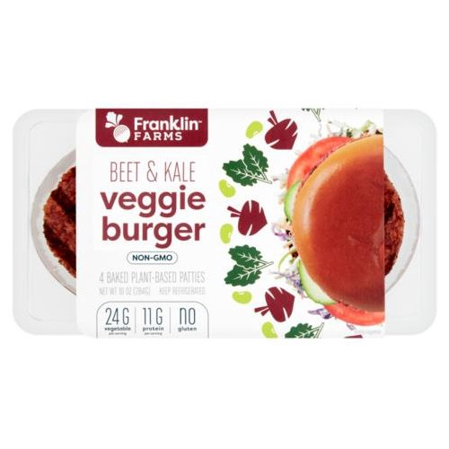 Not all veggie burgers are created equal. Our gluten-free Beet & Kale Veggie Burgers provide 11g of protein per serving. Because we bake our burgers instead of frying, they have 58% less fat than the leading competitor*. Here's to your good health and great taste.  58% less fat than leading veggie patties*  * Contains 2.5g total fat per 71g serving compared to the leading competitor of original veggie patties, which has 6g of total fat per 71g serving.    82% less fat than ground beef patties**  ** Contains 2.5g total fat per 71g serving compared to 80% lean ground beef patty, which has 14g of total fat per 71g serving.