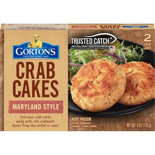 Made with real crabmeat and the perfect blend of seasonings, Gorton's Maryland Style Crab Cakes always cook up delicious in your oven or on your stovetop.
