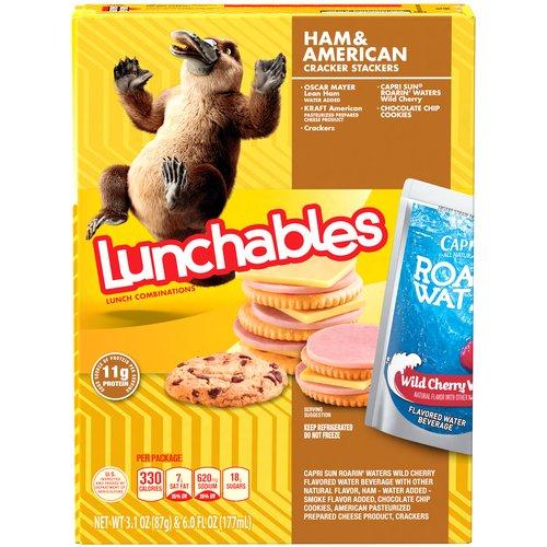 Oscar Mayer lean ham. Kraft American pasteurized prepared cheese product. Crackers. Capri sun roarin' waters drink. Chips Ahoy! cookies.
