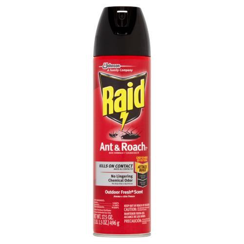 Raid Ant & Roach Killer kills on contact.