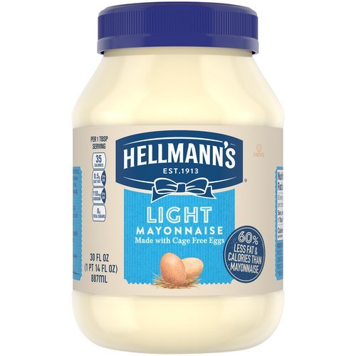 Enjoy the deliciously light, creamy taste of America's #1 Light mayonnaise! With 100% cage-free eggs, 35 calories per tablespoon and 3.5g of fat per serving.