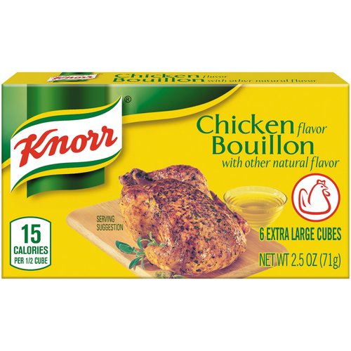 6 cubes. Knorr Bouillon Cubes Chicken (2.3oz) adds a bold taste of chicken to your favorite recipe.