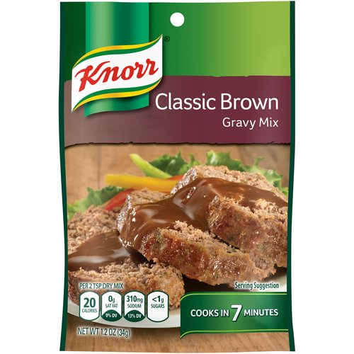 Knorr Gravy Mix Classic Brown (1.2oz) allows you to recreate the traditional taste of the holiday season all year round. Perfect over mashed potatoes or any of your favorite gravy recipes.