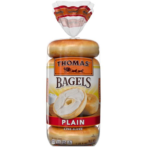 Each package of 6 Thomas' Plain Bagels are classically delicious. Great on their own, or with sandwiches and sweet snacks.