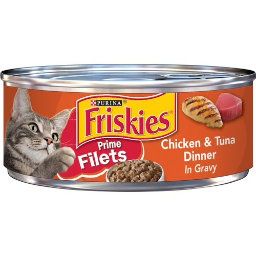 Offer your cat delectable texture and the savory flavor combination she adores with Purina Friskies Prime Filets Chicken & Tuna Dinner in Gravy wet cat food.
