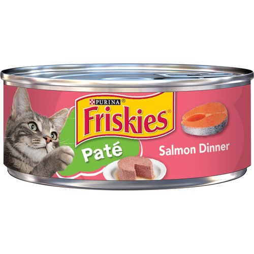 Take care of the nutritional needs of every member of your cat clan with Purina Friskies Pate Salmon Dinner wet cat food. It provides complete and balanced nutrition for kittens and adult cats.