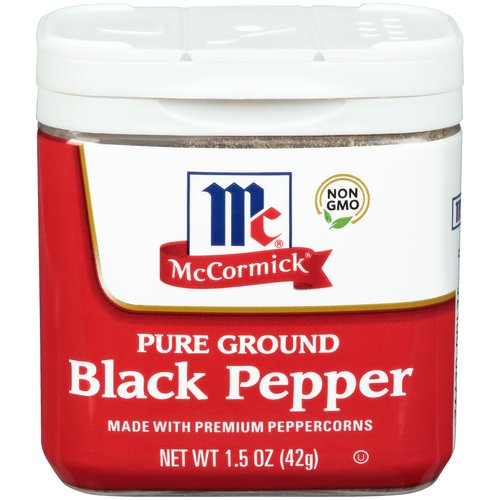 You can't go wrong with McCormick Pure Ground Black Pepper. This pantry staple adds bold flavor to any culinary creation. Features an intense woody-piney flavor and consistent granulation that is hot and biting to the taste.