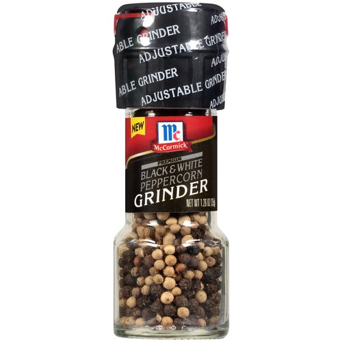 Bold combination of both black and white peppercorns. Woody, black pepper heat. Earthy taste and aroma from white pepper. Easy-twist motion to add fresh-cracked white and black peppercorns to your favorite dishes.