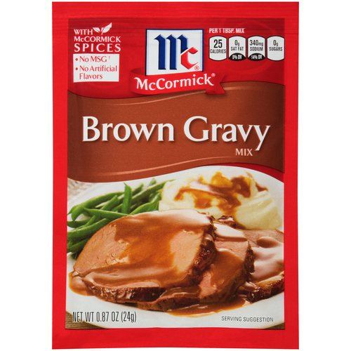 For holidays or everyday this hearty, lump-free gravy is a hit. Made with McCormick spices and no artificial flavors. Serve over mashed potatoes, turkey, stuffing, meatloaf and more.