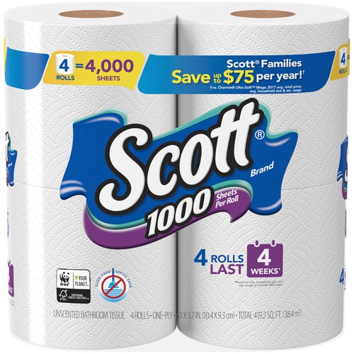 Scott 1000 Bath Tissue gives you the quality you want in 1,000 septic-safe toilet paper sheets. Performance and long lasting toilet paper rolls with the value you expect.